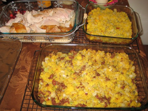 Sliced Turkey and Stuffing (with and without sausage)